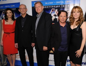 "NEW YORK - OCTOBER 25:  (L-R) Actors Mary Steenburgen, Christopher Lloyd, Robert Zemeckis, Michael J. Fox and Lea Thompson attend the ""Back to the Future"" 25th anniversary trilogy Blu-Ray release at Gustavino's on October 25, 2010 in New York City.  (Photo by Bryan Bedder/Getty Images)"